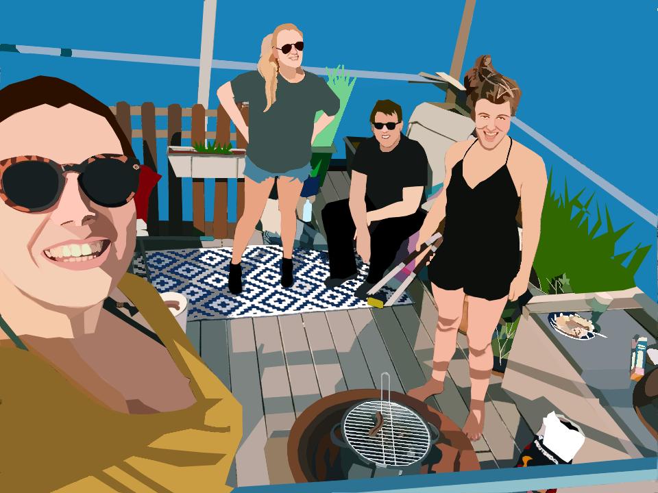 Barbecue-selfie - tableau numérique 2017.